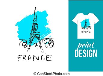 Eiffel tower hand drawn illustration with text france....