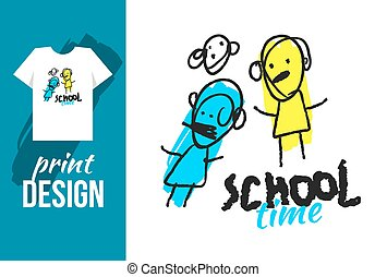School time hand drawn illustration with text and funny kids...
