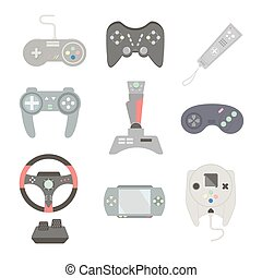 Game joystick and controller set. Various devices. Flat vector illustration game environment, tools and essentials.