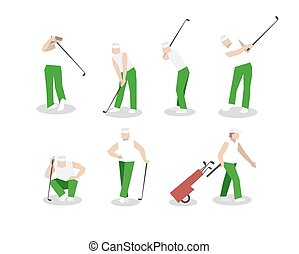 People playing Golf vector set swing with a Golf club golf...