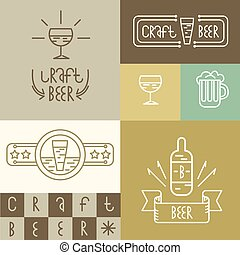 linear craft beer and brewery style design elements for...