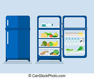 refrigerator with the door closed and open the refrigerator...
