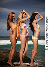 Attractive Young Women Wearing Bikinis - Three attractive...
