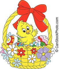 Easter Chick - Little yellow chicken in an Easter basket...