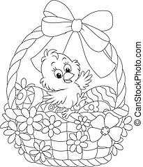 Easter Chick - Little chicken in an Easter basket with...