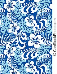 Tropical blue abstract repeat pattern .