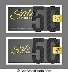 Sale coupon or gift voucher with gold inscription