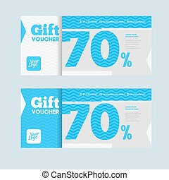 Two coupon voucher design. Gift voucher template with amount...