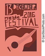 Event poster or flyer with acoustic guitar Vector flyer