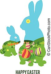 happy easter with rabbit