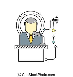 Orator Standing Behind a Podium with Microphones - Orator...