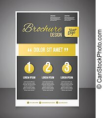 Gold business brochure or offer flyer design template...