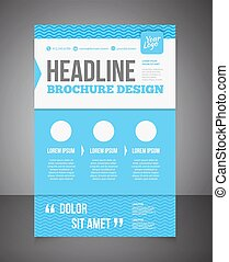Blue business brochure or offer flyer design template...