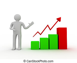 3d man presenting business growth chart graph