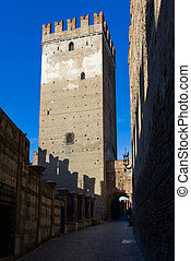 Tower of Castelvecchio in Verona - Tower of the medieval...