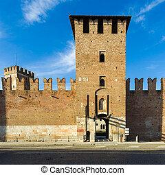 Facade of Castelvecchio in Verona - The medieval castle of...