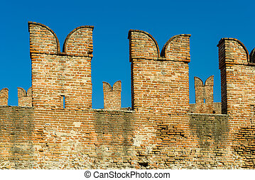 Battlements in Castelvecchio of Verona - Battlements of the...