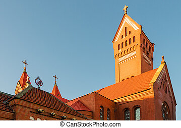 The roof of Catholic Church of St. Simeon and Helena in Minsk, Belarus