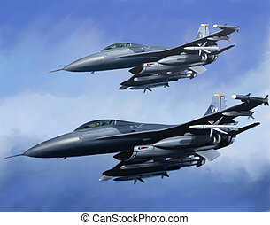 Jet Fighters On The Blue Background