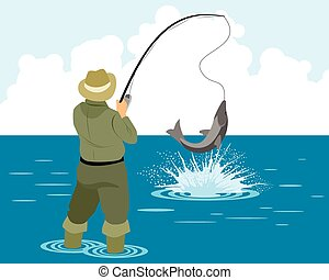 Fisherman catches pike - Vector illustration of a fisherman...
