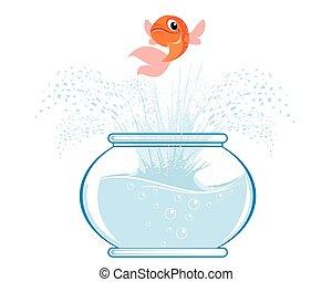 Gold fish jumping