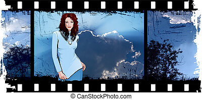 Young Woman In The Film Frame