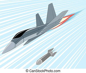 Bomber lobbing rockets - Vector illustration of a bomber...