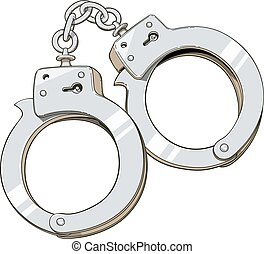 Iron handcuffs for criminal Vector illustration Isolated on...