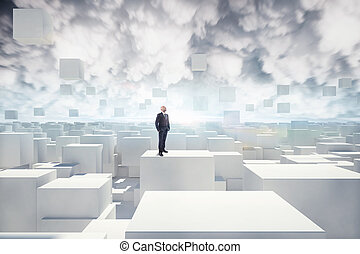 Vision of futuristic city - Businessman looks white cubes in...