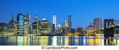 Panoramic view of New York City Manhattan midtown at dusk