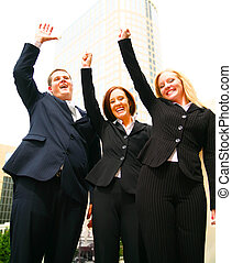 Success Team - successful business team raising hands and...