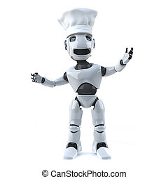 3d Robot wearing a chefs hat - 3d render of a robot wearing...