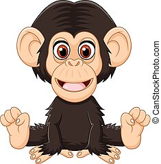 Cartoon funny baby chimpanzee - Vector illustration of...