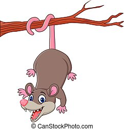 Cartoon funny Opossum on a Tree - Vector illustration of...