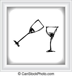Set of cartoon style wine glass