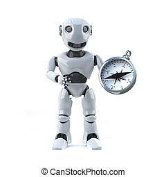 3d Robot using a compass to navigate - 3d render of a robot...