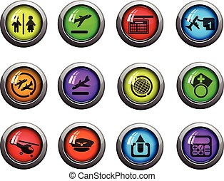Airport icons set - Airport round glossy icons for web site...