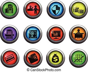 Bank icons set - Bank round glossy icons for web site and...