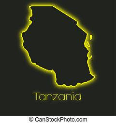 Neon outline of Tanzania - A Neon outline of Tanzania