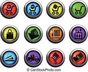 Shopping icons set - Shopping round glossy icons for web...