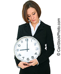 Businesswoman Bad Mood Holding Clock Showing 9 - depressed...