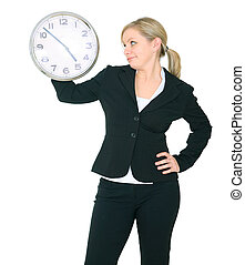 Businesswoman Staring At Clock - unhappy businesswoman...