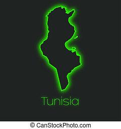 Neon outline of Tunisia - A Neon outline of Tunisia