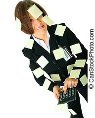 Depressed Woman Accountant Holding Calculator - stressed...