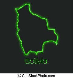 Neon outline of Bolivia - A Neon outline of Bolivia