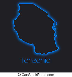 Neon outline of Tanzania - A Neon outline of Tanzania
