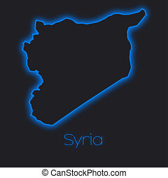 Neon outline of Syria - A Neon outline of Syria