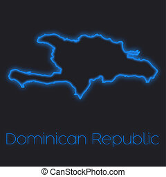 Neon outline of Dominican Republic - A Neon outline of...