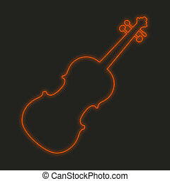 Neon Icon Isolated on a Black Background - Violin