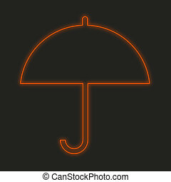 Neon Icon Isolated on a Black Background - Umbrella